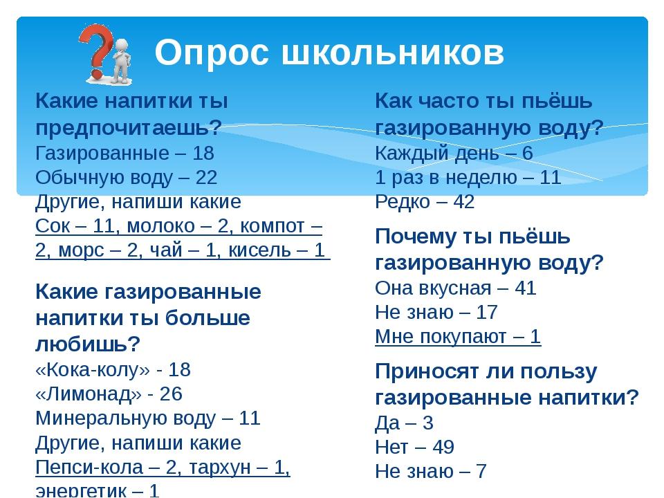 Какие напитки ты предпочитаешь? Газированные – 18 Обычную воду – 22 Другие, н...