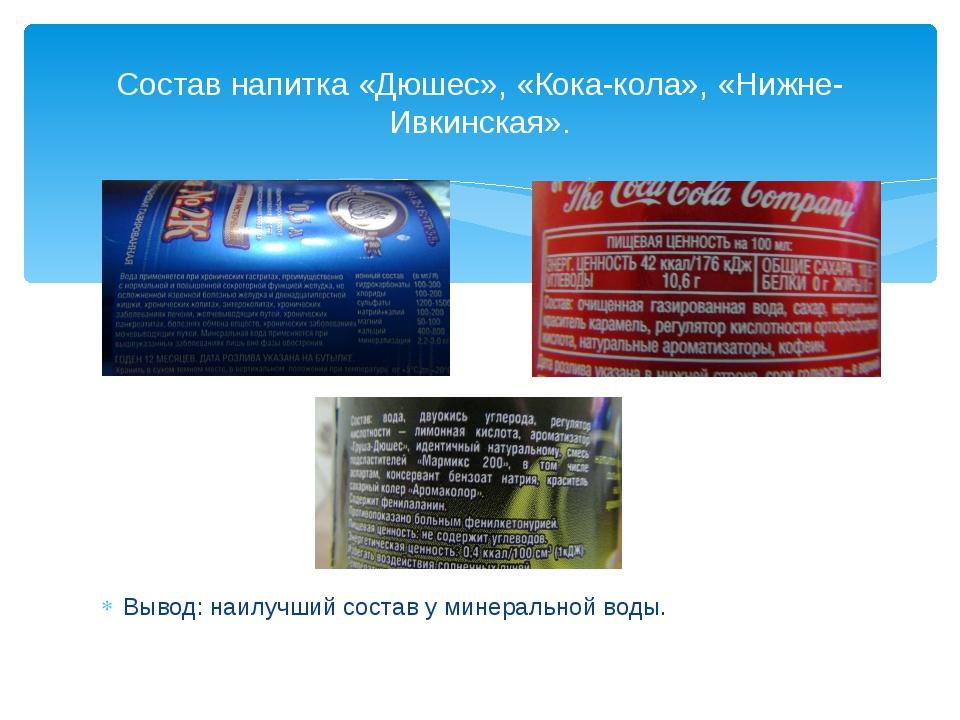 Вывод: наилучший состав у минеральной воды. Состав напитка «Дюшес», «Кока-ко...