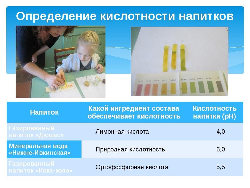 Определение кислотности напитков Напиток Какой ингредиент состава обеспечивае...