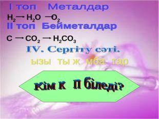 H2 H2O O2 C CO2 H2CO3