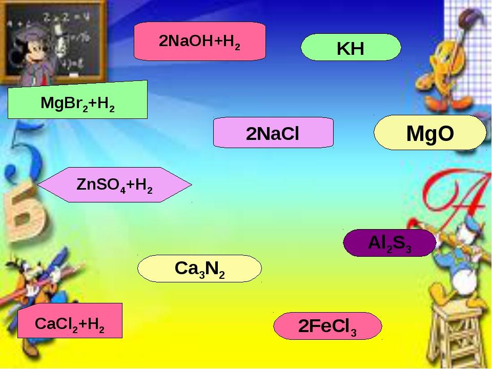 Al2S3 Ca3N2 KH 2FeCl3 MgO 2NaCl CaCl2+H2 MgBr2+H2 ZnSO4+H2 2NaOH+H2
