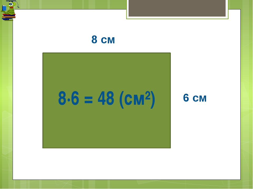 8·6 = 48 (см²) 8 см 6 см