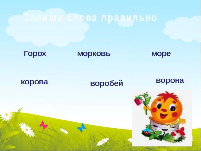 Запиши слова правильно Горох морковь море корова воробей ворона
