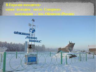 В Евразии находится: самое холодное место Северного полушария – пос. Оймякон