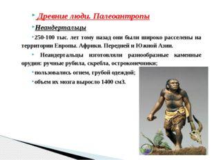 Древние люди. Палеоантропы Неандертальцы 250-100 тыс. лет тому назад они был