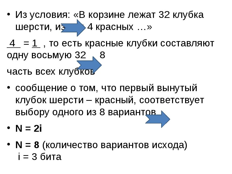 Из условия: «В корзине лежат 32 клубка шерсти, из них 4 красных …» 4 = 1 , то...