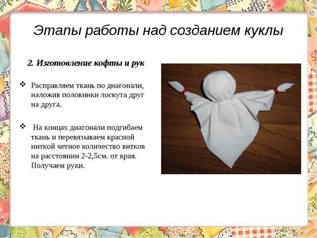 Этапы работы над созданием куклы 2. Изготовление кофты и рук Расправляем ткан...