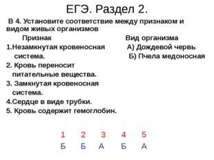 ЕГЭ. Раздел 2. В 4. Установите соответствие между признаком и видом живых орг