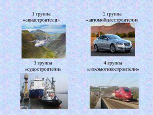 1 группа «авиастроители» 2 группа «автомобилестроители» 3 группа «судостроите