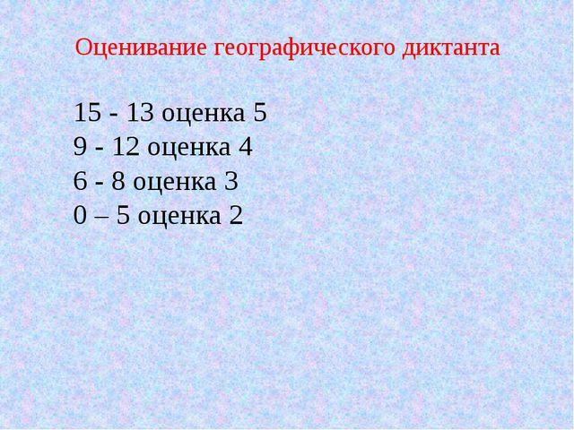 Оценивание географического диктанта 15 - 13 оценка 5 9 - 12 оценка 4 6 - 8 оц...