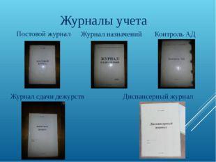 Журналы учета Постовой журнал Журнал назначений Контроль АД Диспансерный журн