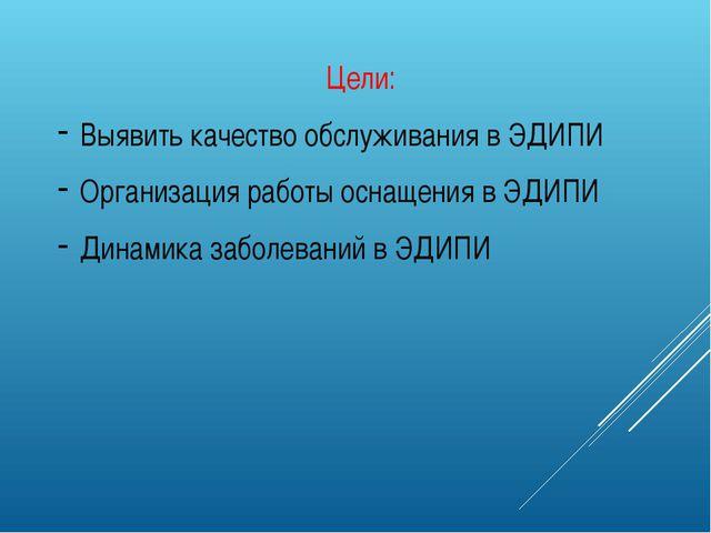 Цели: Выявить качество обслуживания в ЭДИПИ Организация работы оснащения в ЭД...