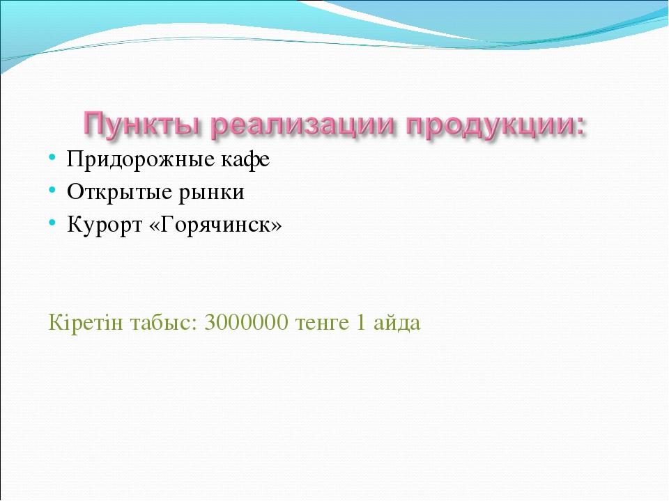 Придорожные кафе Открытые рынки Курорт «Горячинск» Кіретін табыс: 3000000 тен...