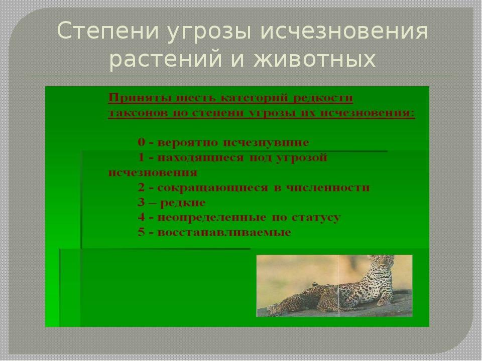 Степени угрозы исчезновения растений и животных