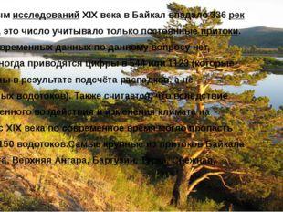 По данным исследований XIX века в Байкал впадало 336 рек и ручьёв, это число