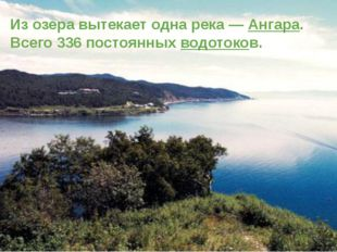 Из озера вытекает одна река — Ангара. Всего 336 постоянных водотоков.