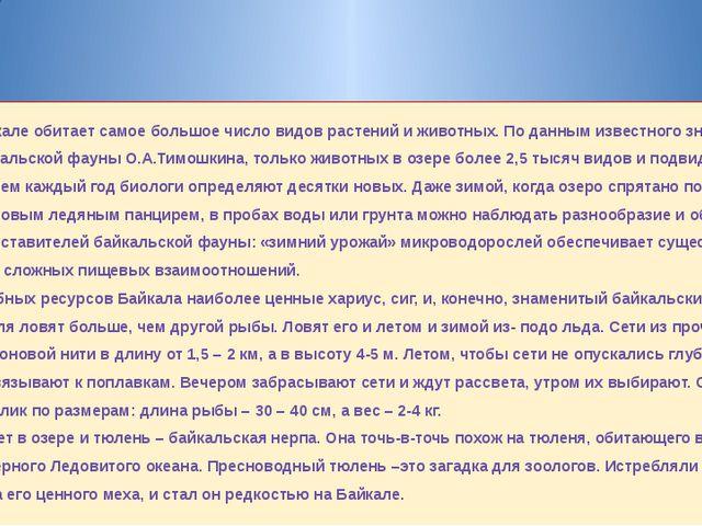 В Байкале обитает самое большое число видов растений и животных. По данным из...