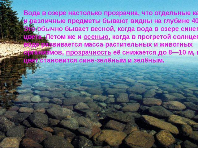 Вода в озере настолько прозрачна, что отдельные камни и различные предметы б...