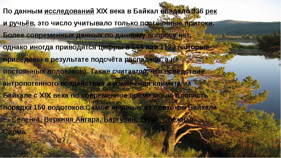 По данным исследований XIX века в Байкал впадало 336 рек и ручьёв, это число...