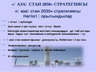 «Қазақстан 2030» стратегиясы Негізгі қорытындылар «ҚАЗАҚСТАН 2050» СТРАТЕГИЯС