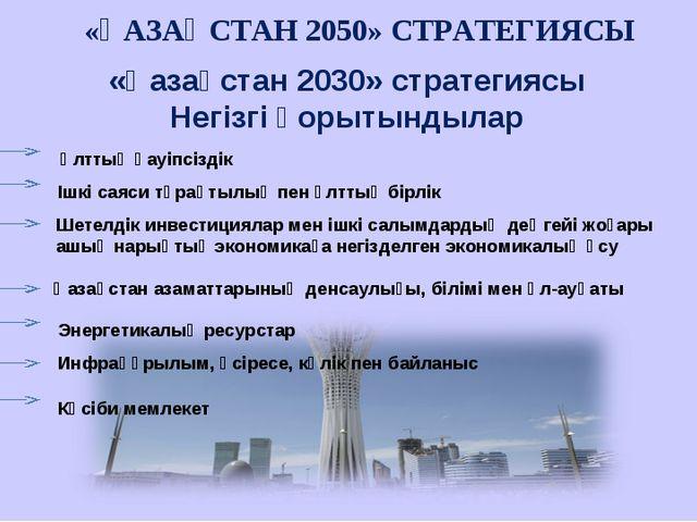 «Қазақстан 2030» стратегиясы Негізгі қорытындылар «ҚАЗАҚСТАН 2050» СТРАТЕГИЯС...
