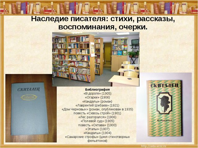 Библиография «В дороге» (1905) «Огарки» (1906) «Кандалы» (роман) «Лаврентий Ш...