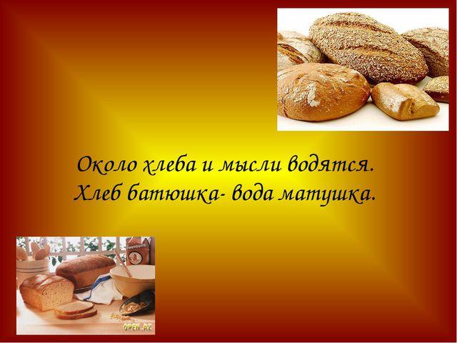 Около хлеба и мысли водятся. Хлеб батюшка- вода матушка.