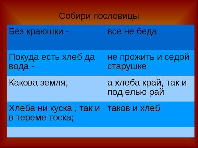 Собири пословицы Без краюшки -все не беда Покуда есть хлеб да вода -не про...
