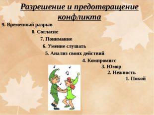 9. Временный разрыв 8. Согласие 7. Понимание 6. Умение слушать 5. Анализ свои