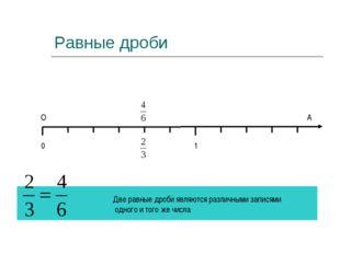 Равные дроби О А Две равные дроби являются различными записями одного и того
