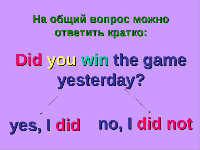 На общий вопрос можно ответить кратко: Did you win the game yesterday? yes, I...