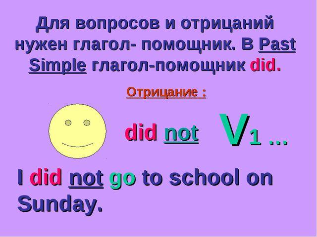 Для вопросов и отрицаний нужен глагол- помощник. В Past Simple глагол-помощни...
