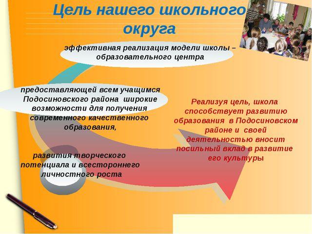 Цель нашего школьного округа предоставляющей всем учащимся Подосиновского рай...