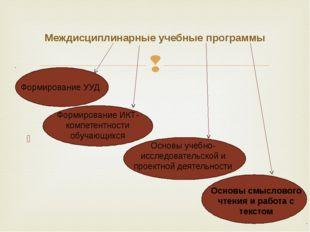Междисциплинарные учебные программы Формирование УУД Формирование ИКТ-компет