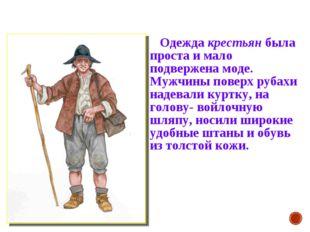 Одежда крестьян была проста и мало подвержена моде. Мужчины поверх рубахи на