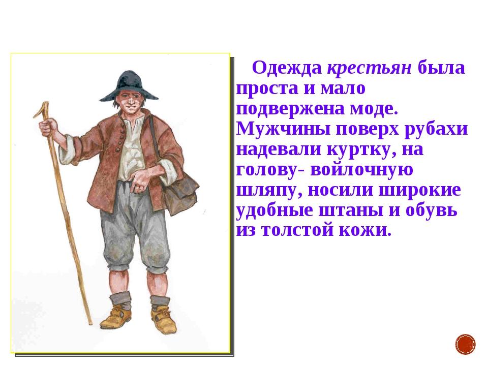 Одежда крестьян была проста и мало подвержена моде. Мужчины поверх рубахи на...