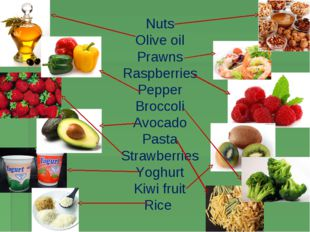 Nuts Olive oil Prawns Raspberries Pepper Broccoli Avocado Pasta Strawberries
