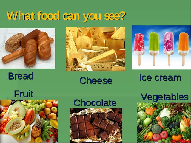 What food can you see? Cheese Bread Fruit Chocolate Vegetables Ice cream