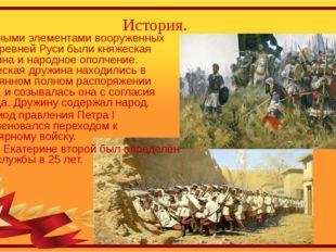 История. Главными элементами вооруженных сил Древней Руси были княжеская друж