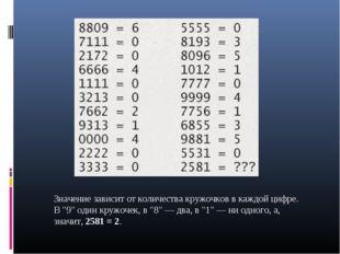"""Значение зависит от количества кружочков в каждой цифре. В """"9"""" один кружочек,"""