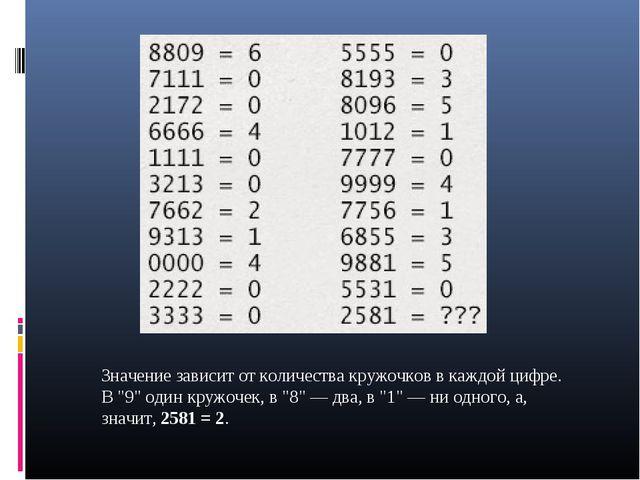 """Значение зависит от количества кружочков в каждой цифре. В """"9"""" один кружочек,..."""