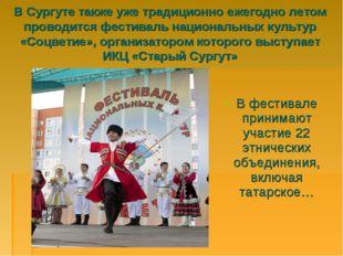 В Сургуте также уже традиционно ежегодно летом проводится фестиваль националь