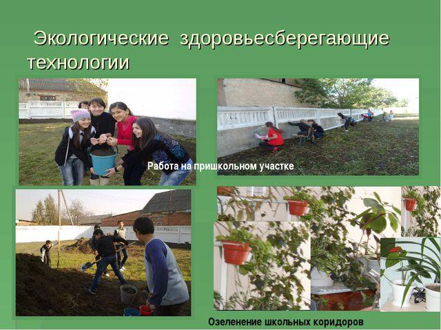 Экологические здоровьесберегающие технологии Работа на пришкольном участке О...