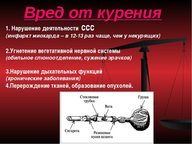 Вред от курения 1. Нарушение деятельности ссс (инфаркт миокарда – в 12-13 раз...