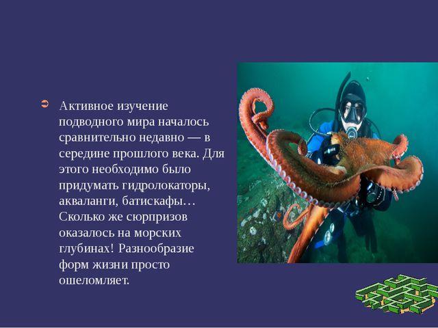 Активное изучение подводного мира началось сравнительно недавно — в середине...