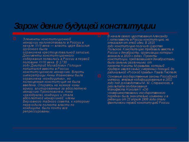 Зарождение будущей конституции Элементыконституционной монархииналичествова...