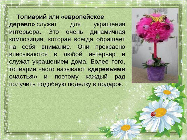 Топиарийили«европейское дерево»служит для украшения интерьера. Это очень д...