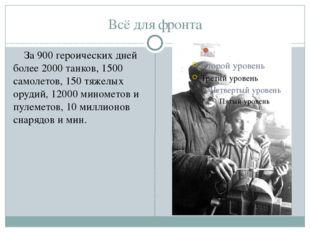 Всё для фронта За 900 героических дней более 2000 танков, 1500 самолетов, 150