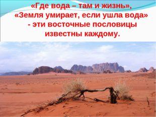 «Где вода – там и жизнь», «Земля умирает, если ушла вода» - эти восточные пос