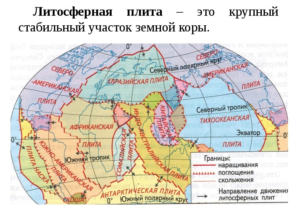 Литосферная плита – это крупный стабильный участок земной коры.
